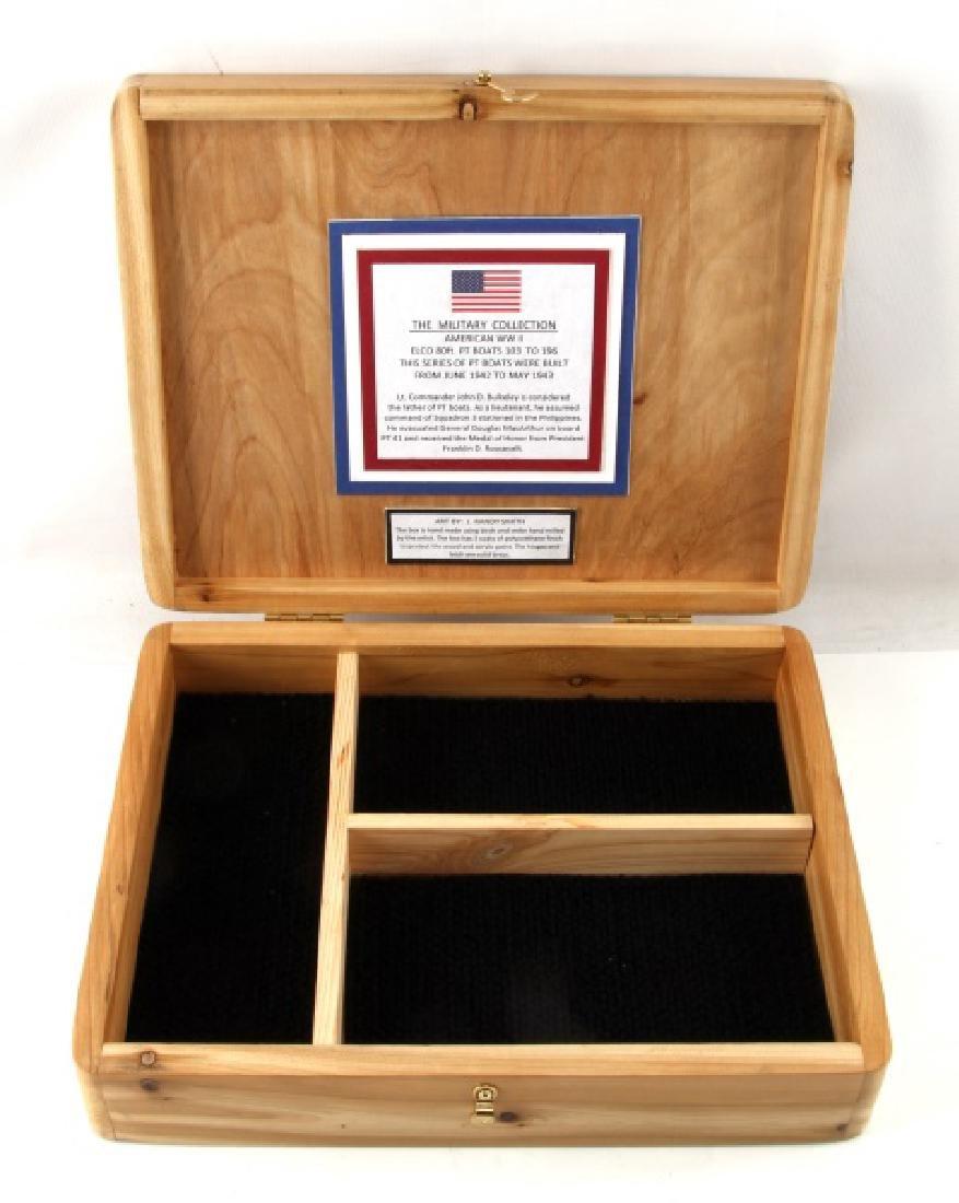 HAND PAINTED US NAVY PT BOAT BIRCH & CEDAR BOX - 4