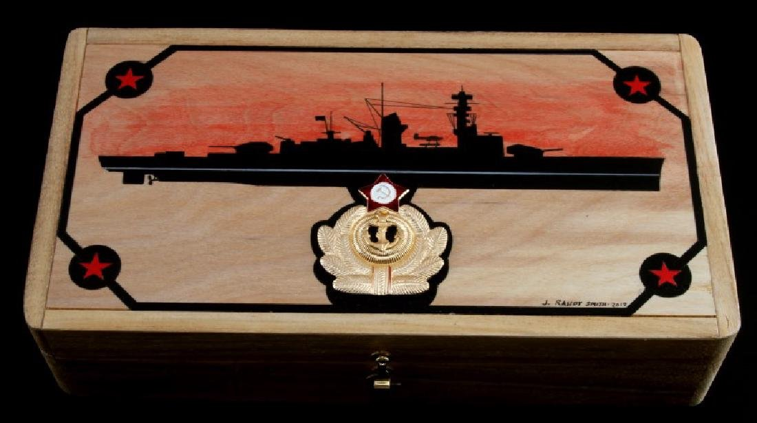 HAND PAINTED RUSSIAN NAVAL SCENE ON WOOD BOX