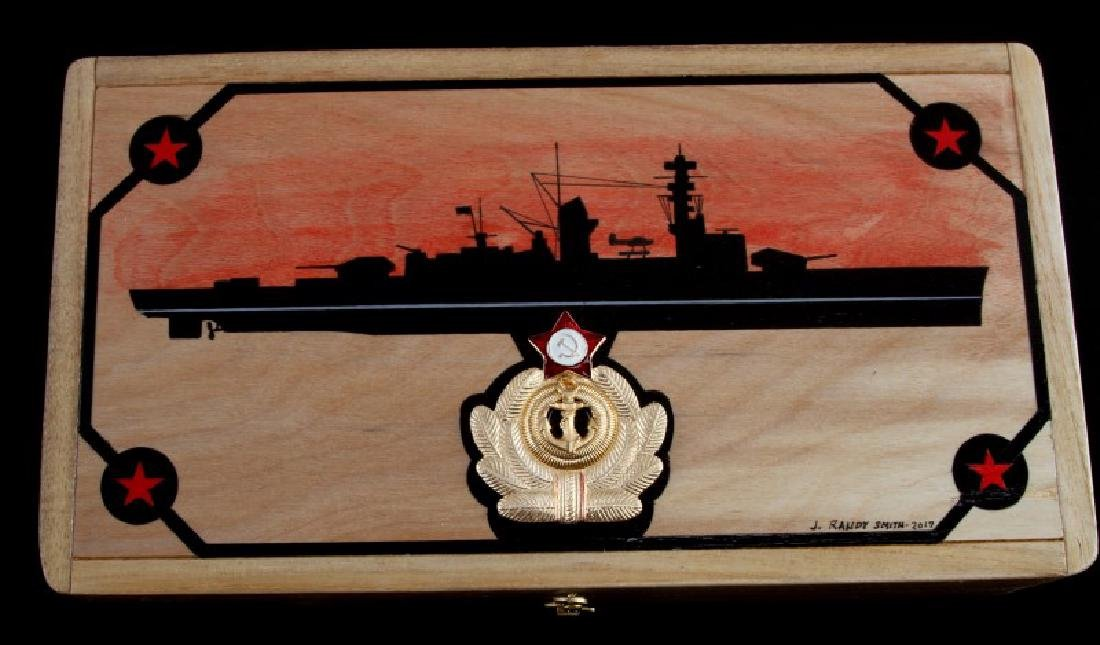 HAND PAINTED RUSSIAN NAVAL SCENE ON WOOD BOX - 2