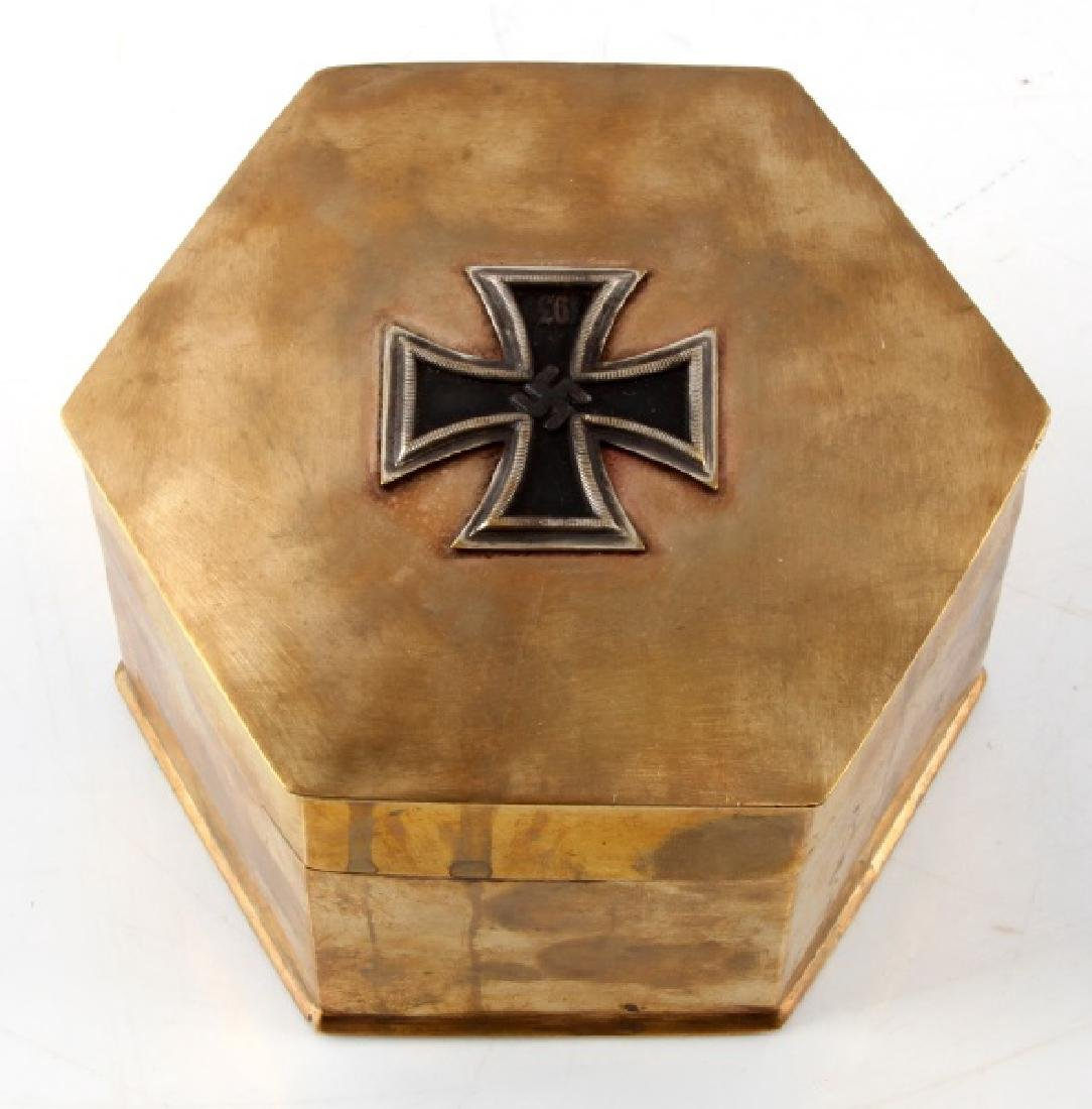 GERMAN WWII BRASS IRON CROSS TRINKET BOX STAMPED
