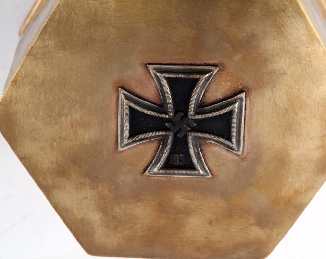 GERMAN WWII BRASS IRON CROSS TRINKET BOX STAMPED - 2