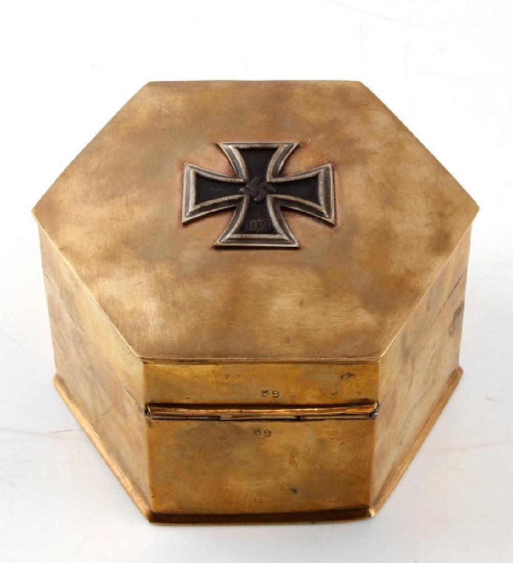 GERMAN WWII BRASS IRON CROSS TRINKET BOX STAMPED - 4