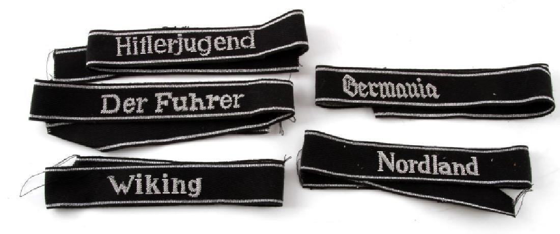 5 GERMAN WWII WAFFEN SS DIVISION CUFF TITLES