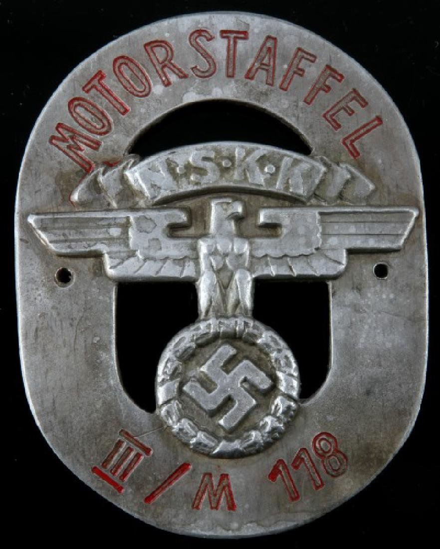 WWII GERMAN 3RD REICH NSKK MOTORSTAFFEL PLAQUE