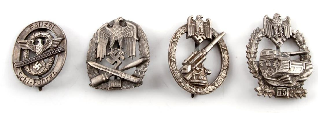 4 GERMAN WWII HEER BADGES ASSAULT ANTI AIRCRAFT
