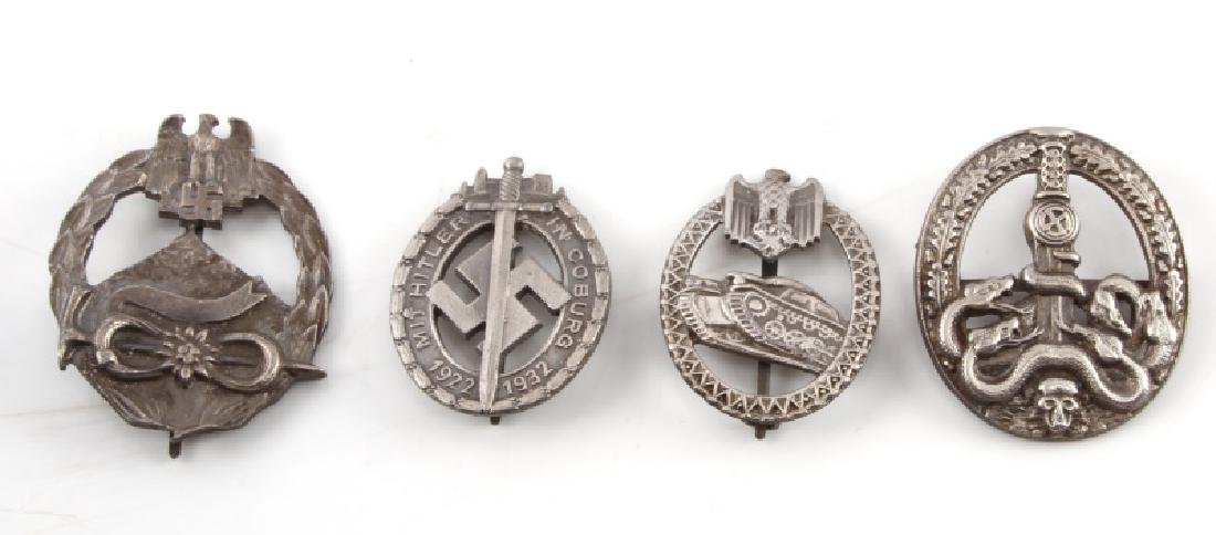 4 GERMAN WWII MILITARY BADGES PANZER HONOR COBURG