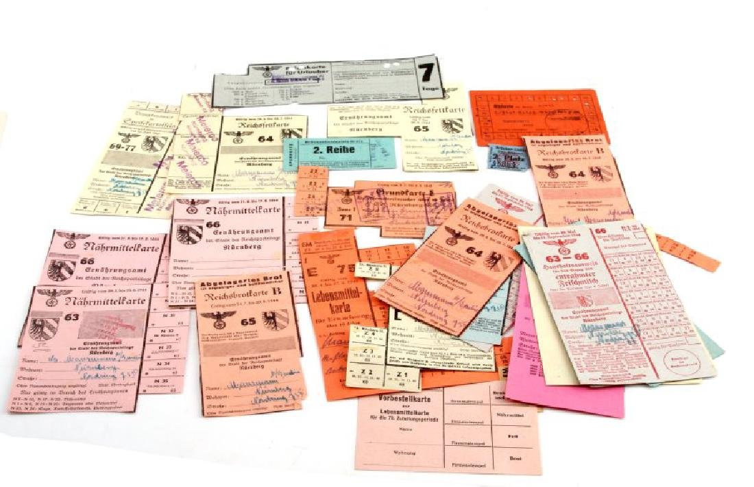 LOT GERMAN WWII PERIOD FOOD RATION COUPONS & CARDS