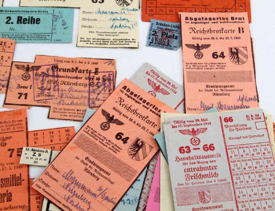 LOT GERMAN WWII PERIOD FOOD RATION COUPONS & CARDS - 3
