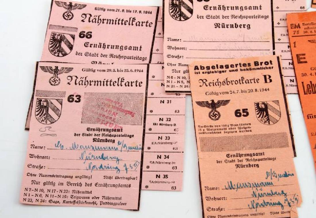 LOT GERMAN WWII PERIOD FOOD RATION COUPONS & CARDS - 4