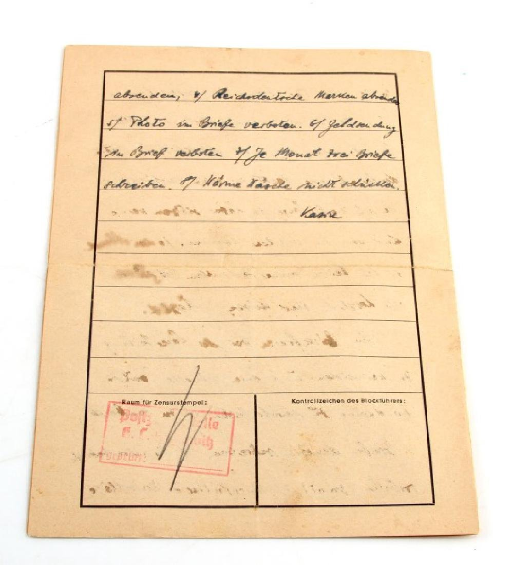 1940 LETTER FROM AUSCHWITZ CONCENTRATION CAMP - 4
