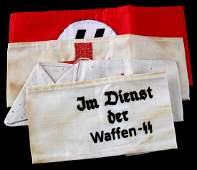 LOT OF 4 WWII GERMAN 3RD REICH WAFFEN SS ARM BANDS