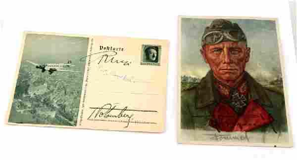 2 GERMAN WWII SIGNED POSTCARDS HESS ROMMEL SAUKEL