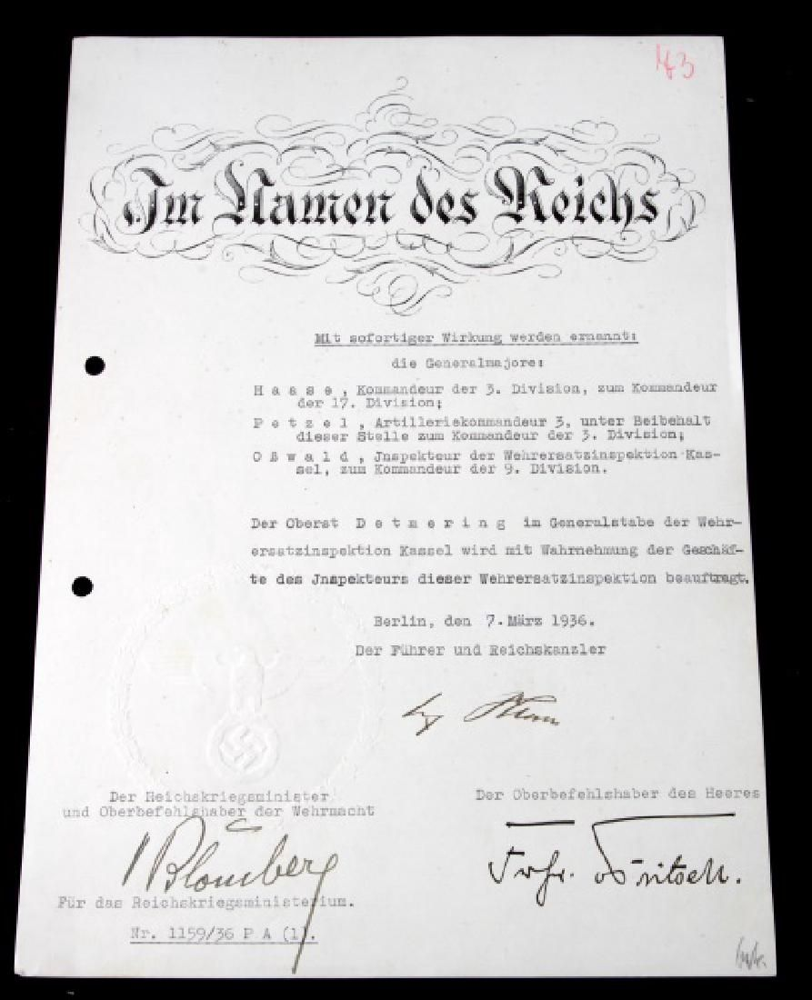 WWII GERMAN THIRD REICH HITLER SIGNED ASSIGNMENTS