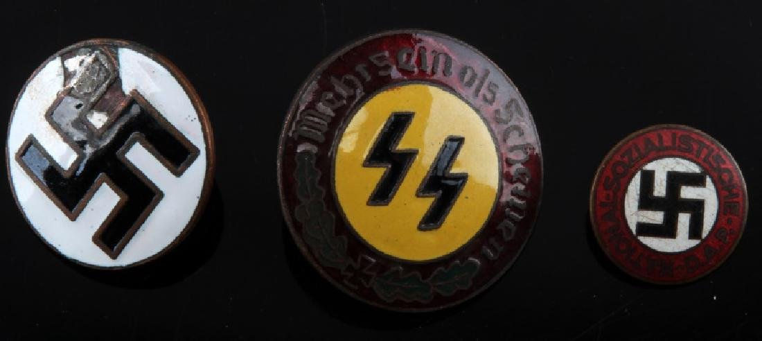 3 ENAMEL WWII GERMAN MILITARY NSDAP PARTY PIN LOT