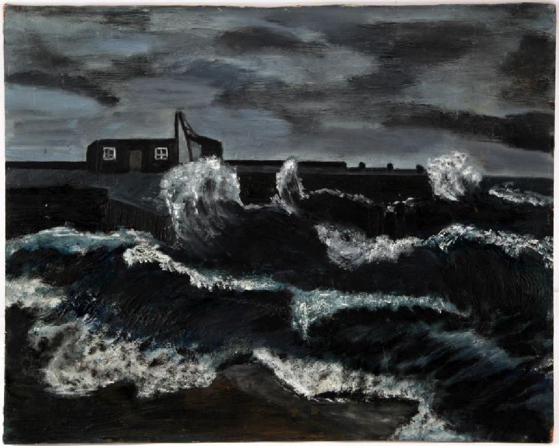 THEODORE MAJOR STORMY NIGHT OCEAN OIL ON BOARD