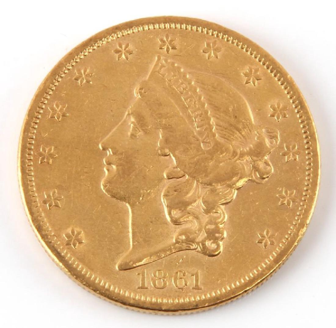 1861 $20 LIBERTY DOUBLE EAGLE NO MOTTO GOLD COIN