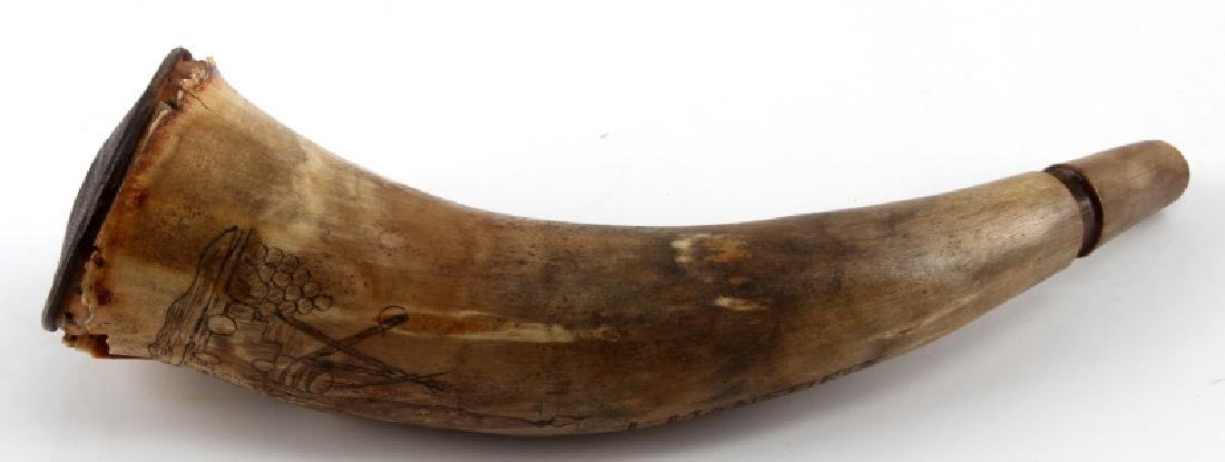 DEDICATED SCRIMSHAW POWDER HORN 4TH ARTILLERY 1842