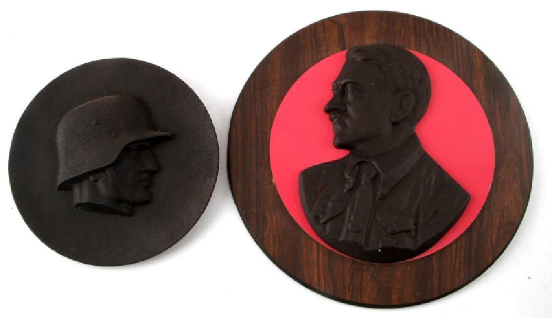 2 CAST IRON WWII GERMAN WALL PLAQUE LOT HITLER