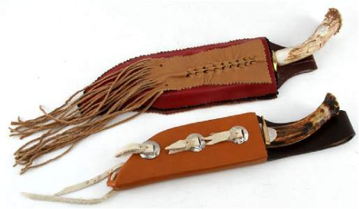 HAND CRAFTED STAG HANDLE KNIFE LOT OF 2 W SHEATH