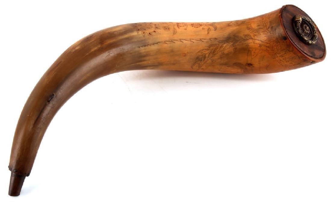 19TH CENTURY SCRIMSHAW POWDER HORN ABE LINCOLN