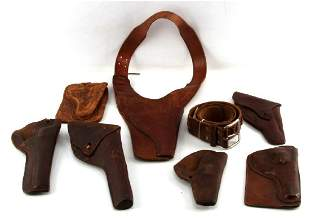 LOT OF ANTIQUE WEATERN LEATHER PISTOL GUN HOLSTERS