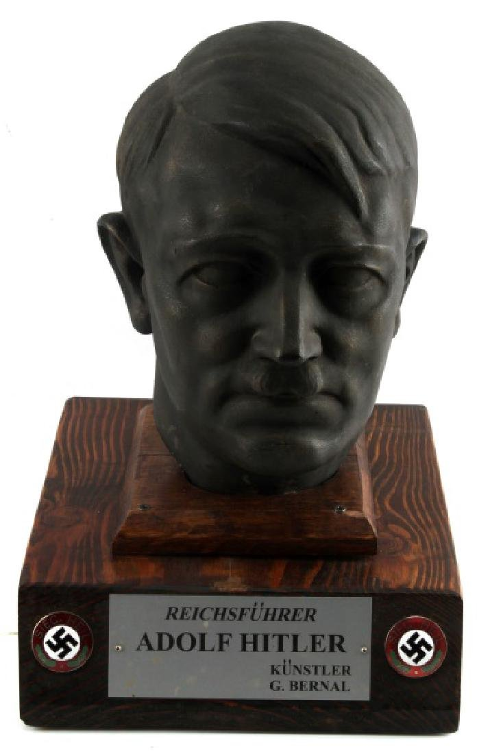 LARGE PLASTER ADOLF HITLER BUST ON WOODEN PLINTH