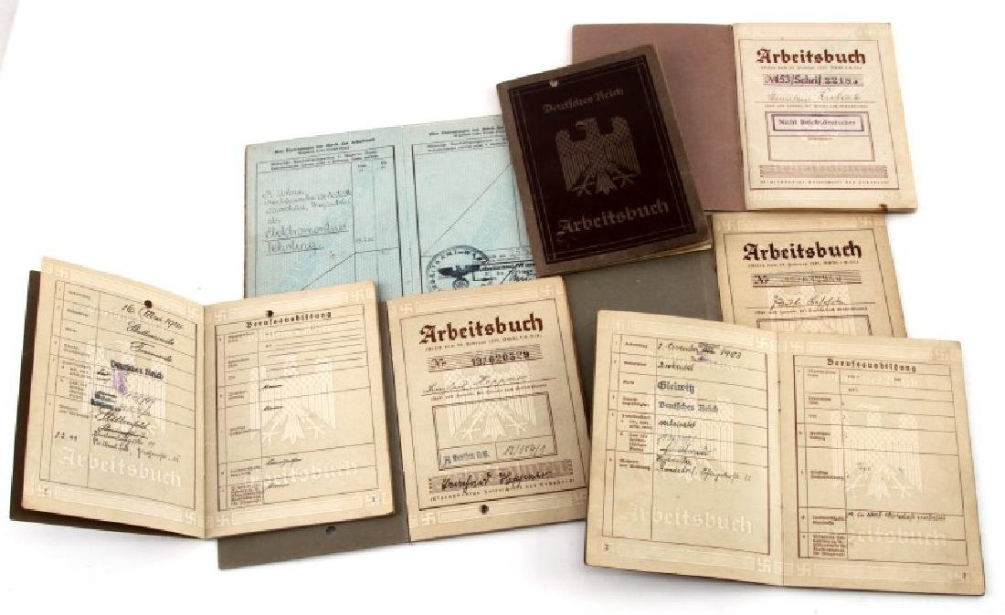 7 GERMAN WWII ARBEITSBUCH WORKERS BOOKS