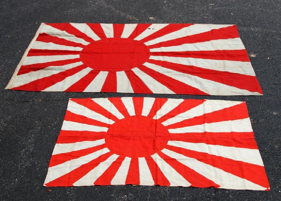 IMPERIAL JAPANESE NAVY WWII BATTLE FLAG LOT OF 2