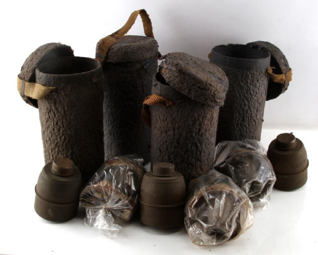 LOT OF 4 WWII GERMAN WEHRMACHT GAS MASK W CANISTER