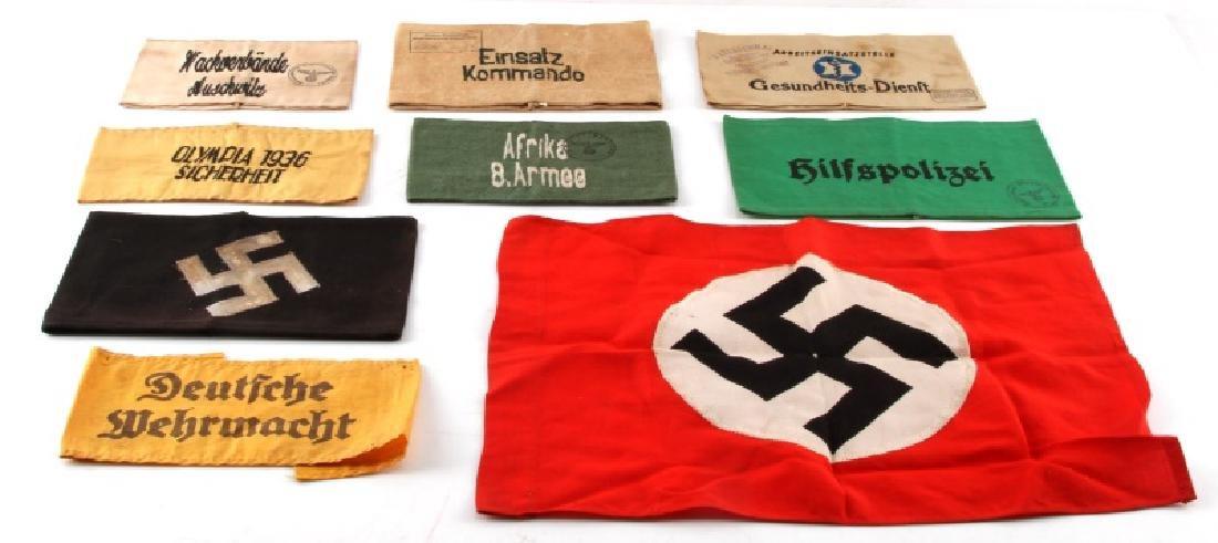 8 WWII ERA GERMAN MILITARY ARM BAND LOT & 1 FLAG