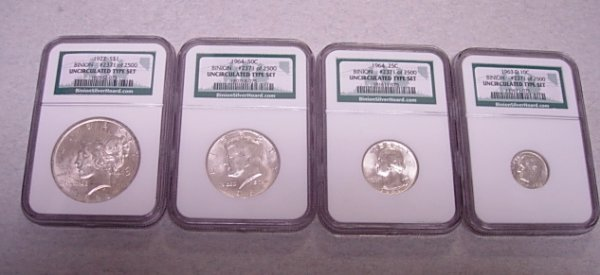 NGC BINION SILVER HOARD UNC 4 COIN TYPE SET