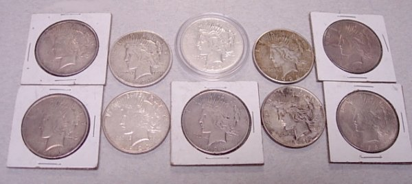 US SILVER PEACE DOLLAR COIN LOT OF 10 G TO F