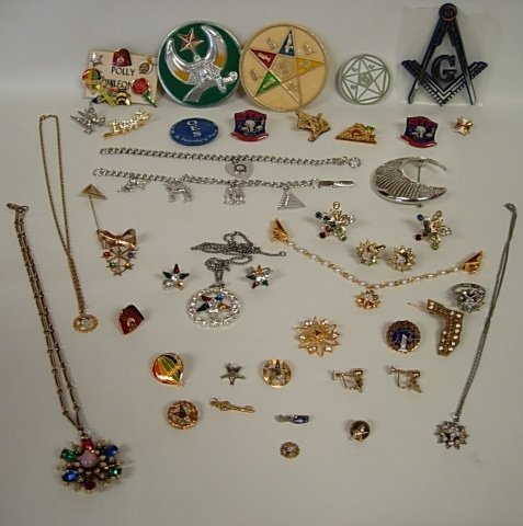 HUGE LOT OES MASONIC EASTERN STAR VINTAGE JEWELRY