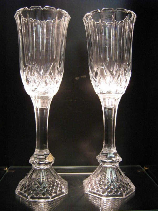 PAIR OF 24% LEAD CRYSTAL CANDLE HOLDERS