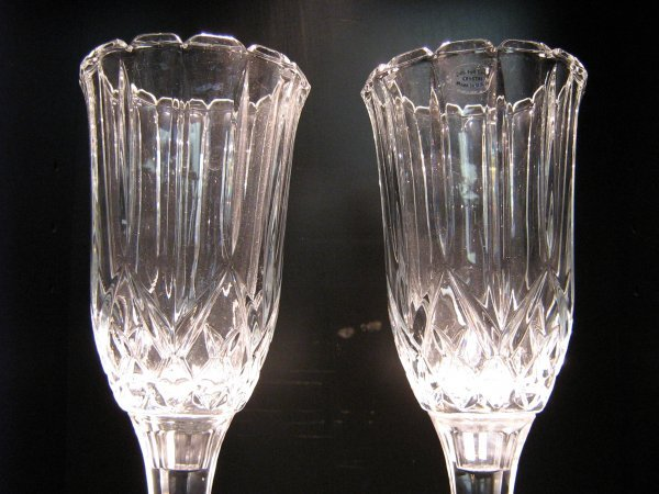 PAIR OF 24% LEAD CRYSTAL CANDLE HOLDERS   - 2
