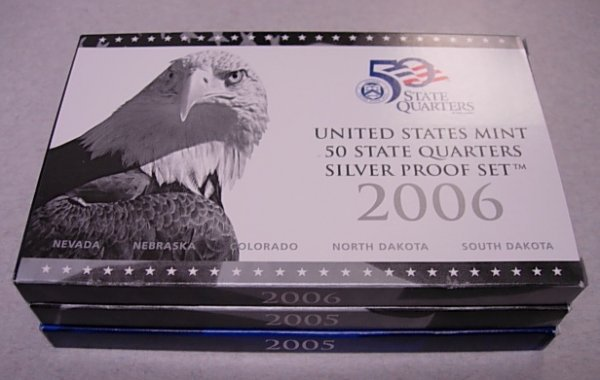 2005 2006 US MINT STATE QUARTERS PROOF SETS SILVER