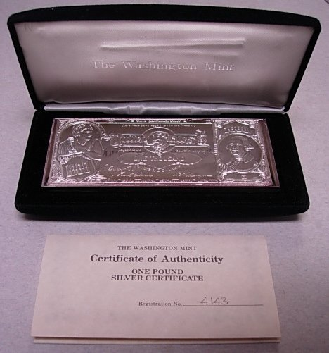Washington Mint 1lb Silver Bullion Bar 999 16 Oz