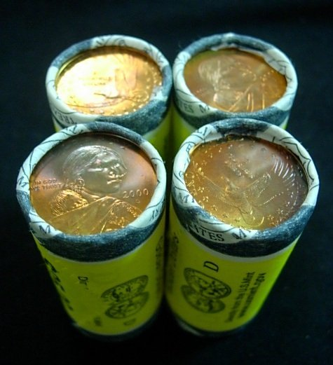 4 SACAGAWEA GOLDEN DOLLAR UNC MINT ROLLS 2000-D