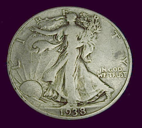 1938-D WALKING LIBERTY HALF SILVER KEY DATE COIN