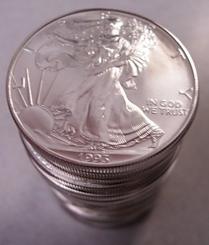 1993 SILVER 1 OZ AMERICAN EAGLE MINT ROLL 20 COINS