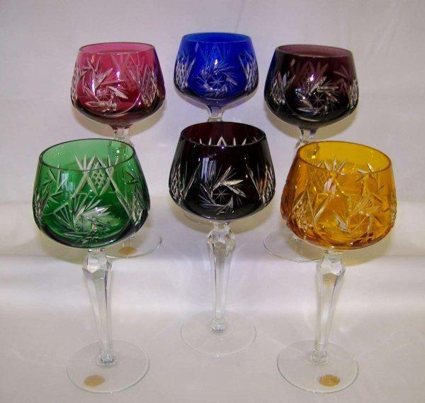 6 CRYSTAL ETCHED STEM GLASSES SET MULTI COLORS