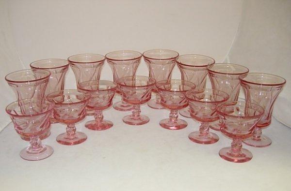 15 FOSTORIA JAMESTOWN SHERBET STEM GLASS LOT PINK