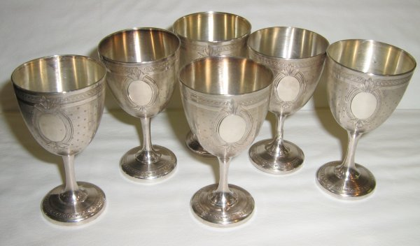 6 ORNATE FRENCH SILVER CORDIAL GLASSES FOOTED