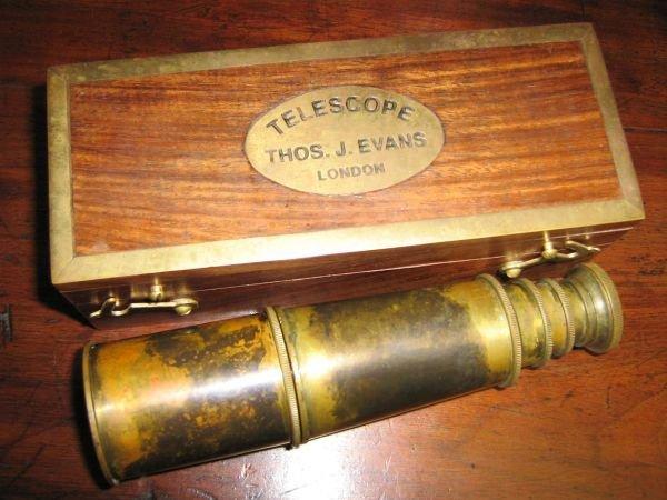 ANTIQUE STYLE TELESCOPE IN BOX THOS. EVANS LONDON