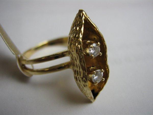 14K GOLD LADIES 2 DIAMOND RING 2 PEAS IN A POD