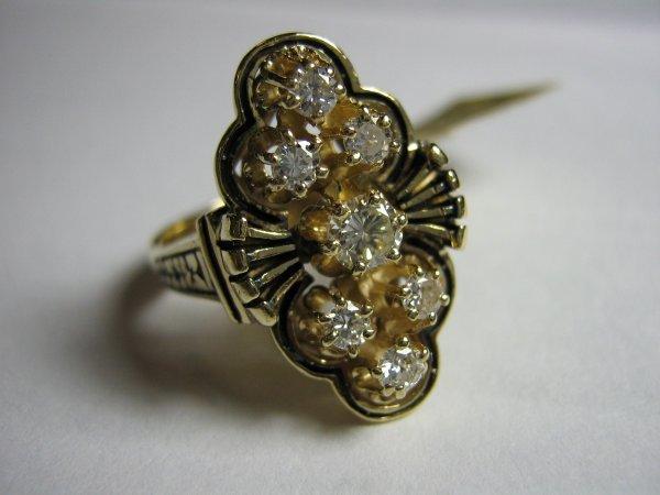 14K GOLD LADIES 7 DIAMOND CLUSTER RING .50 CT