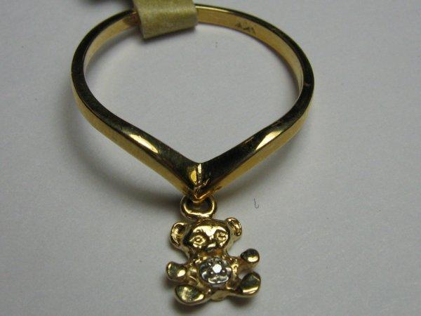 14K GOLD & DIAMOND TEDDY BEAR RING