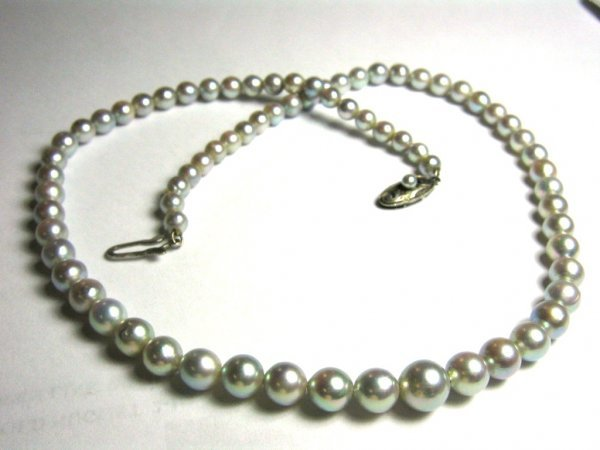 """16"""" STRAND TAPERED ANTIQUE MIKIMOTO PEARL NECKLACE"""
