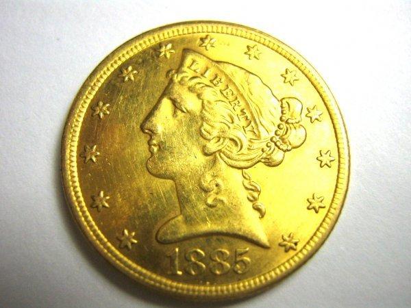 1885 LIBERTY FIVE DOLLAR GOLD PIECE COIN