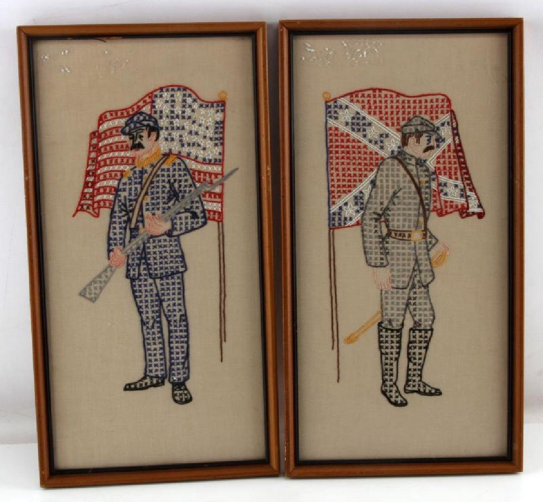 2 VTG FRAMED CROCHET CIVIL WAR SOLDIER PICTURE LOT